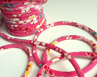 Japanese cord 4mm, Chirimen, cherry blossom pattern, pink (C3139-4)