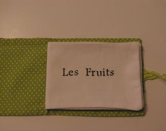 Fruit themed hand-stitched fabric book