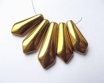 set small pendants 5 Titanium hematite pieces VIA 202