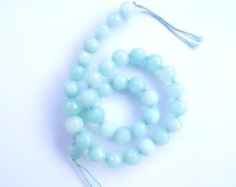 38 round faceted green jade colored 10 mm GOHM-102