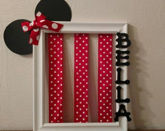 Hair bow holder/Minnie mouse hair bow holder. Pink/black or red/black