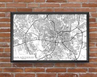 San Antonio, Texas Map Art