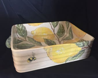 Lemon Painted Ceramic Casserole Kitchen Art