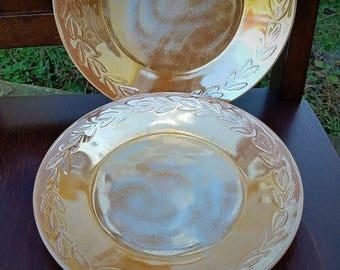 Fire King Vintage Peach Luster Dinner Plates, Laurel Leaf design, set of 2