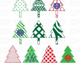 Christmas Tree SVG Cut Files,Christmas Tree Clipart,Christmas Tree  Monogram Frames Cut Files for Cricut, Silhouette Studio_Digital Download
