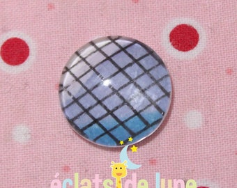 Blue checked 18mm glass round cabochon
