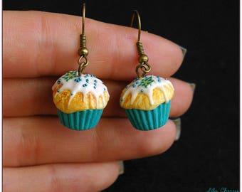 Earring dangle water Fimo polymer clay green cupcake