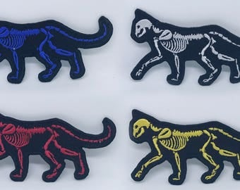 1289# Cat Skeleton Various colours Iron/Sew on Embroidered Patches
