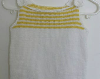 Yellow and white 3 months overalls
