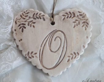Ceramic heart lace, shabby chic style, color beige linen, original 'O'