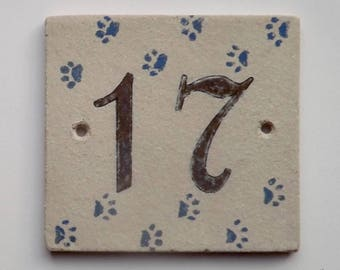 Door number '17' ceramic (stoneware), Blue Cat paws on a beige background, resistant to frost