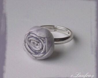 Ceramic Ring, flower shaped lavender blue