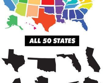 50 USA States, United States clipart, All Statessvg, USA clipart, monogram frame silhouette svg eps png dxf Cut Print Mug Shirt Decal