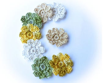 Flowers 8 crochet cotton retro - vintage