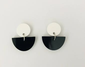 Mini White and Black Fan Earrings