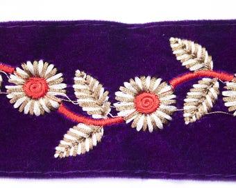 Ribbon pattern purple Floral 5.5 cm x 50 cm