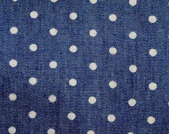 Coupon 25 X 100 cm Blue Denim dots - polka dot patchwork fabric