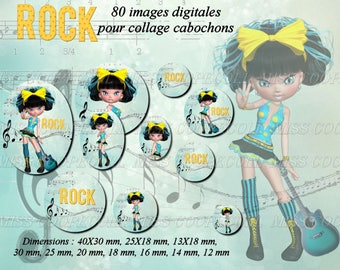 80 images for collage digital cabochons, jewelry