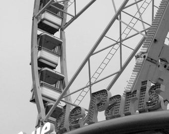 "Black and white photography ""Wheel of Paris"" Paris, December 2014"