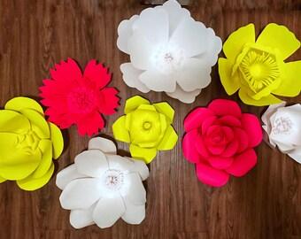 8pc Bright Paper Flower Set