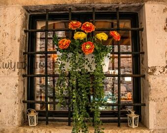 A Decorative Flower Window in Dubronik, Croatia