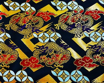 Paperback - Brocade - Japanese fabric Golden Black Dragon from 25x70cm - the Japan fabric