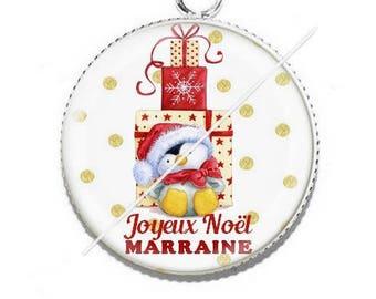 Cabochon resin cameo Joyeux Noel godmother b5