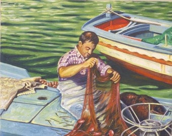 Painting, painting, painting on canvas, fisherman, acrylic on canvas.
