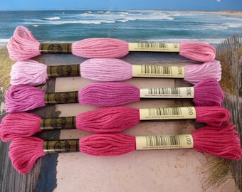 5 cotton skeins degraded by Pink 8 metre or 8.7 yd n 601 600 3607 3609 and 603 for bracelets or embroidery set of 5