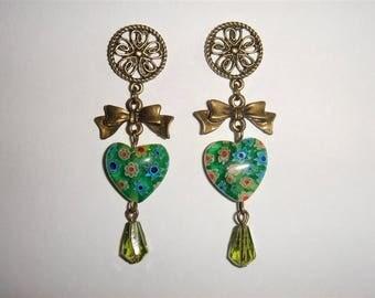 bronze and green millefiori heart earrings dangling pierced earrings