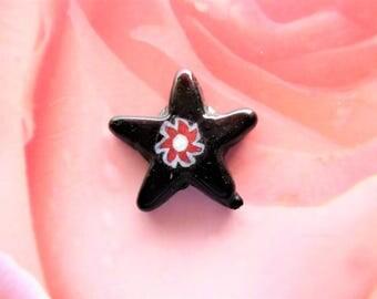 Star Charm 19 mm vintage jewelry creations black Murano glass