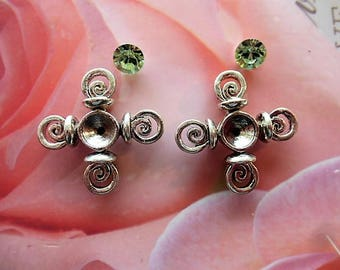 2 charms connectors-star creations water green rhinestone and metal jewelry, crafts, embellishment, decoration