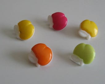 Set of 5 buttons apples for colourful knitting sewing set no. 13 mm 1