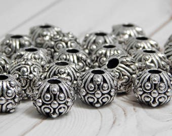 10pcs - 11x8mm - Metal Beads - Silver Beads - Antique Silver - Large Hole Spacers - Spacer Beads - Rondelle Spacers - (5429)