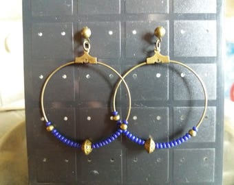 Bronze seed bead earrings blue