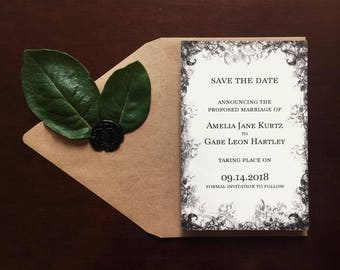 Printable - Woodsy Dark Forest Wedding Save the Dates