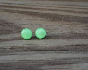 Green Polymer Clay Post Earrings