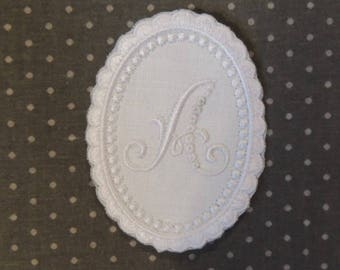 Embroidered Monogram in a beaded Medallion ready to use