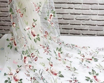 """1 Yard High Quality Venice Lace Fabric White Tulle Floral Exquisite Alice Embroidered Wedding Bridal 51"""" width"""
