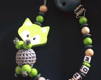 Personalized pacifier - model GREEN FOX