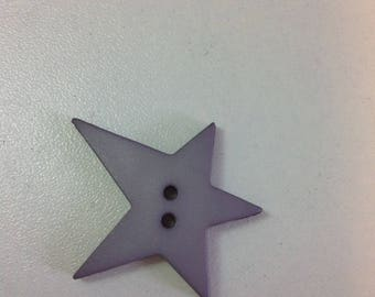 Star decoration button - resin grey 2 hole