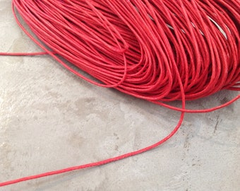 1 meter of carmine red waxed cord 1 mm