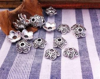 12 cups decor swirl shape, round, antique silver color