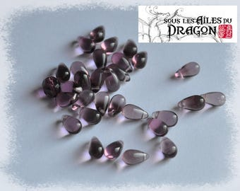Pearl drops glass, set of 30, purple