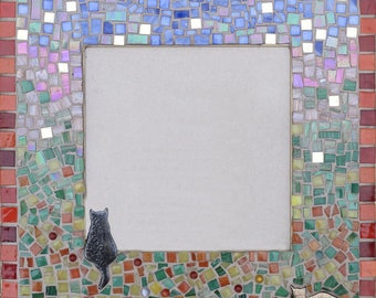 Small table mirror or picture 35x35cm holder: two cats in the window