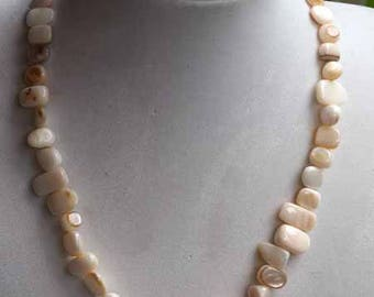 Mother of Pearl, natural, simple necklace Choker necklace, 42cm, mother of Pearl irregular rectangle 6-12mm