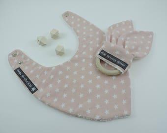 Box baby teether wooden Bunny bandana bib