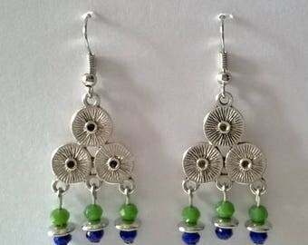 Earrings triple green and blue circles