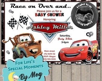 Disney Cars Baby Shower Invitations- It's a Boy Baby Shower Invitations - Lightening McQueen and Mator Baby Shower Invites