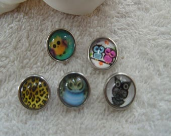 five mini buttons 1,2 cm owls all vintage buttons